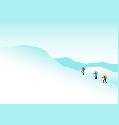 climbers on the snowy mountains vector image