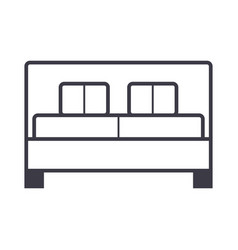double bed line icon sign o vector image