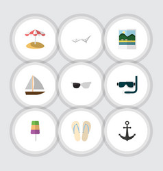 flat icon season set of spectacles yacht beach vector image vector image