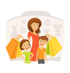 Happy woman with children on shopping vector image vector image