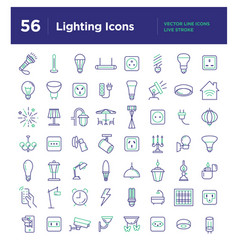 light line icons set vector image