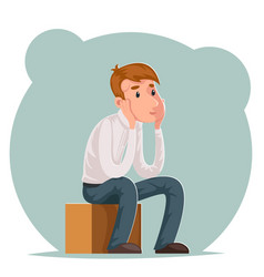 making decision pensive businessman sits on box vector image