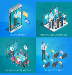 Online business conference vector