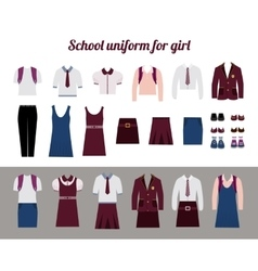 School uniform for girls flat vector image vector image