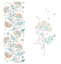 Seamless floral border and flower vector image