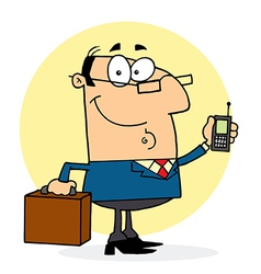 Businessman Holding A Briefcase And Cell Phone vector image vector image