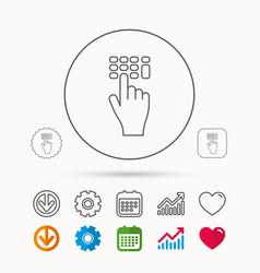 Enter pin code icon click hand pointer sign vector