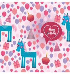 Funny unicorn Happy birthday seamless pattern vector image vector image