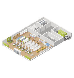 grocery supermarket with storage rooms and goods vector image