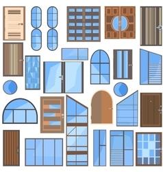 Set isolated doors windows glass vector image