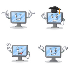 set of monitor character with wink two finger vector image
