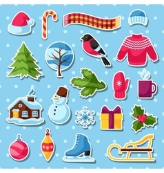 Set of winter stickers Merry Christmas Happy New vector image