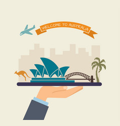 welcome to australia attractions of australia on vector image