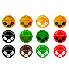 100 robusta coffee - sticker or label vector image