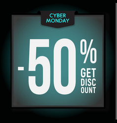 50 percent off holiday discount cyber monday vector image