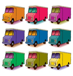 9 Colorful Trucks vector image