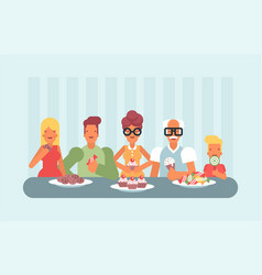 all ages enjoying sweets and ice cream vector image
