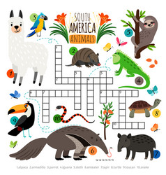 American animals crossword vector