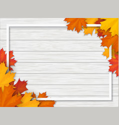 Autumn leaves and frame on white wooden background vector