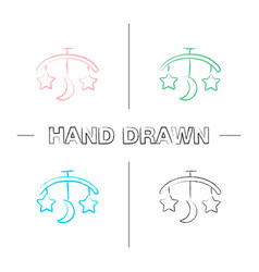 Babed carousel hand drawn icons set vector