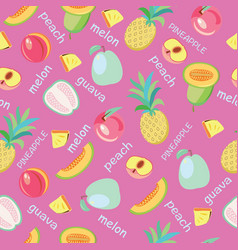 background of fruits peach guava melon vector image
