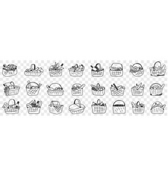 basket with food doodle set vector image