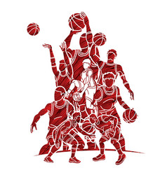 Basketball players action vector