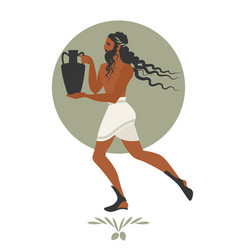 Bearded man with mane in the style of ancient vector