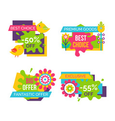 Best choice sale labels set birds blooming flowers vector