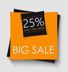 Big sale banner template design orange square vector