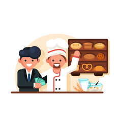 businessman giving money man chef in bakery shop vector image