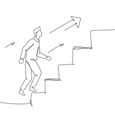 Businessman going up a ladder - one line design vector