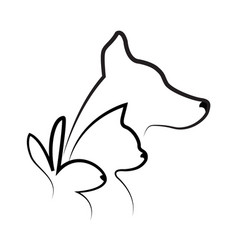 cat dog and rabbit silhouettes logo vector image