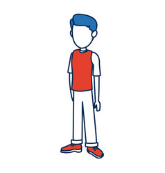 Character guy young traveler standing person vector