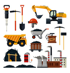 Coal mining icon set isolated vector
