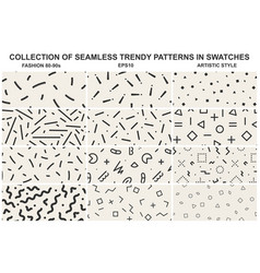 Collection of memphis seamless patterns fashion vector