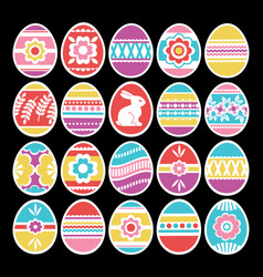 color easter eggs isolated on black background vector image