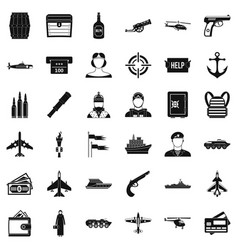 Combat gun icons set simple style vector
