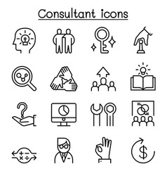 Consultant expert icon set in thin line style vector