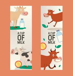 cup milk set banners vector image