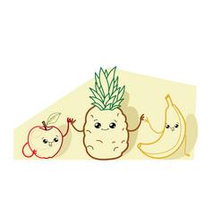 cute banana apple and pineapple cartoon comic vector image