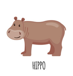 Cute hippo in flat style vector