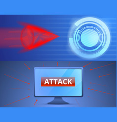 Cyber attack banner set cartoon style vector