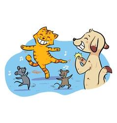 Dancing Pet Animals vector image