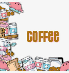 delicious coffee plastic cup and milk background vector image