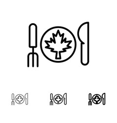 Dinner autumn canada leaf bold and thin black vector