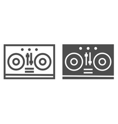 dj mixer line and glyph icon music and sound vector image