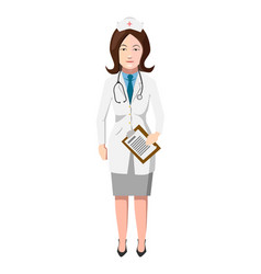doctor in white robe with stroboscope flat woman vector image