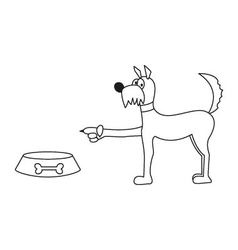 Dog and food bowl sticker vector