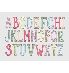 Doodle colorful alphabet vector image